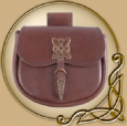 LARP Leather purse with celtic brass ornaments